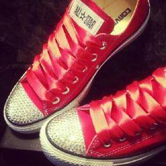 #Red #Converse #Swarovski #Custom #Handmade #Bling #Sparkle