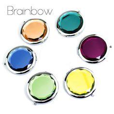 10 colores de Cristal de Espejo de Maquillaje Ronda Portátil Plegable Espejo Compacto Maquillaje Espelho De Bolso Para Los Regalos de Boda Personalizados