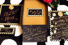 Black & Gold NYE Wedding: Stationery by Love by Phoebe.