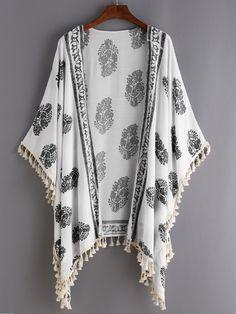 White Vintage Print Tassel Trimmed Kimono.