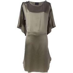 Lanvin Vintage Cut Out Sleeve Dress featuring polyvore, fashion, clothing, dresses, grey, gray dress, vintage dresses, grey dress, lanvin and cut out dress
