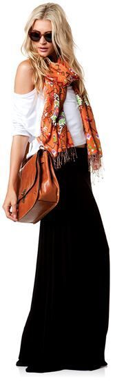 cozy, causal, put together. great off the the shoulder shirt, versatile back maxi, and fun patterned scarf.
