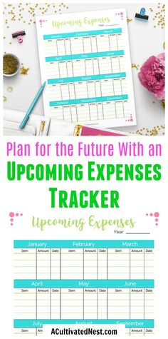 Printable Upcoming Expenses Tracker- Never be surprised by an expense again! Use this printable upcoming expenses tracker to track regular expenses like bills, or track more uncommon one-off expenses. This is a must-have for anyone trying to get their finances in order! | expense worksheet, #printable #budgeting #personalFinance #frugalLiving #frugal #moneymanagement #expenses via @ACultivatedNest