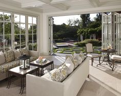 Pretty Antique Bifold Doors Image Gallery in Sunroom Traditional design ideas with Pretty bi-fold doors coffee table coffered ceiling decorative pillows folding doors french doors Home Design, Design Ideas, Design Inspiration, Living Room Designs, Living Room Decor, Dining Room, Accordion Doors, Living Comedor, Up House