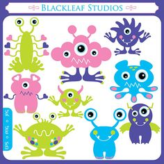 Cute Monsters Clipart Set Digital Download Images, Scrapbook, Graphics, Crafters - Personal and Commercial Use Clipart