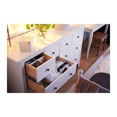 HEMNES Commode 8 tiroirs - teinté blanc - IKEA