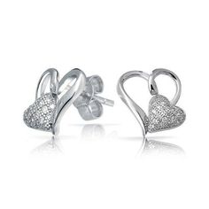 Bling Jewelry Open Heart Micro Pave CZ Two Hearts Stud Earrings Sterling Silver