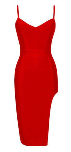 sexy, body-con fit, length above knee, back zipper, side split Material: 90% rayon /9% nylon/ 1% spandex Color - Red Size - X-Small, Small, Medium, Large (email us if size is not available) * Dry clea