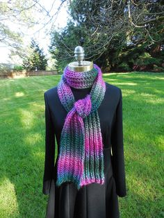 Garter Slip Rib Scarf in pink blue teal and green soft and warm!  Hand knitted by Mountain Mist Fiberworks https://www.etsy.com/shop/MountainMist