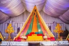 Simple and lively decoration ideas for haldi-mehendi ceremony, to make it more fun packed. These ideas will create the right ambiance for the function. Mehndi Ceremony, Wedding Mehndi, Haldi Ceremony, Mehndi Dress, Mehendi, Mehndi Decor, Ceremony Dresses, Ceremony Decorations, Wedding Planning