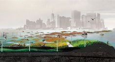 KATE ORFF  scape's rendering of oyster reefs in NY Harbor