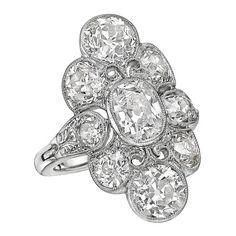 Antique Diamond Platinum Cluster Dress Ring | La Beℓℓe ℳystère