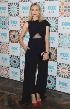 At the FOX Television Critics Association party in Los Angeles in a Marios Schwab jumpsuit.