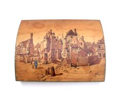 French large hand coloured signed French village by Retrocollects £40 https://www.etsy.com/shop/Retrocollects