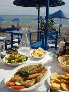 Enjoy the View . and the Cretan Cuisine, somewhere in lovely South Crete! Mykonos Greece, Crete Greece, Greece Food, Santorini, Organic Recipes, Ethnic Recipes, Greek Isles, Greek Recipes, Healthy Lifestyle