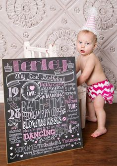 Customized 1st birthday chalkboard poster. Perfect for party, photoshoots and a really great keepsake!