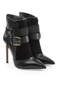 Dyed in classic black with a sharp pointed toe, these stiletto-heel ankle boots from Balmain are detailed with stretch fabric and velvet-soft suede for a high-… Short Black Boots, Black Leather Boots, Leather Ankle Boots, Buckle Ankle Boots, Black Ankle Booties, Calf Boots, Cl Fashion, Fashion Boots, Fashion Heels