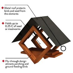 Perky-Pet® The Architect Bird Feeder - cup Seed, Worm, Nut, and Fruit Capacity Wood Bird Feeder, Bird House Feeder, Hanging Bird Feeders, Homemade Bird Houses, Homemade Bird Feeders, Woodworking Projects For Kids, Wood Projects, Woodworking Forum, Diy Plastic Bottle