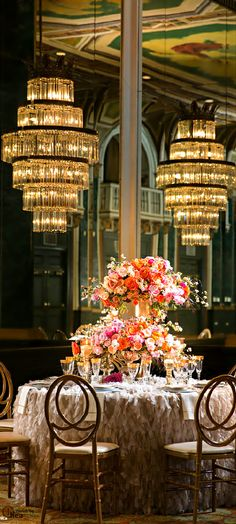 Wedding centerpiece in coral, yellow and peach to wow your guests Decoration Table, Reception Decorations, Chandeliers, Wedding Events, Weddings, Wedding Ideas, Event Design, Floral Arrangements, Flower Arrangement