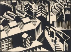 Edward Wadsworth: Yorkshire, 1920; woodcut. ©2009 Artists Rights Society (ARS), New York/DACS, London
