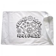 "Colortime's ""Peace Love Happiness"" pillowcase! You can find them here: https://www.colortime.com/Peace-Love-and-Happiness-Pillowcase-p/2124.htm"