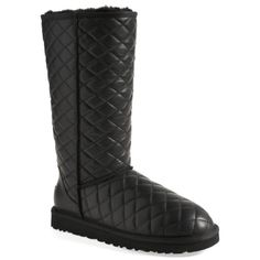 Ugg Australia Tall Leather Quilted Boots Black 7