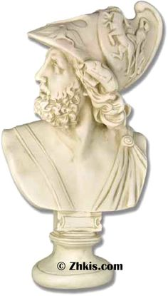 Ajax bust statue - Ajax was a Greek hero. He play a major role in homers Iliad of epic poems. Made of durable fiberglass with several finish options to choose from.
