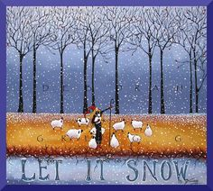 Let It Snow Winter Sheep Snow Forest Shepherdess PRINT from the original by Deborah Gregg
