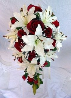 Wedding Cascading Bouquets Lilly Cascading by SmallTownFlowers
