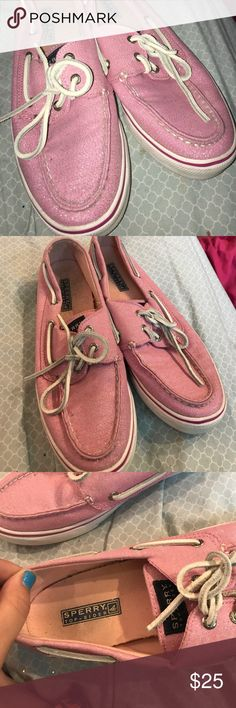 Pre owned pink sperrys I actually never wore these myself, I bought them from a thrift store💁🏼 they're in good condition, not too dirty, and they're pink with sparkles!!! Bundle to save and I accept reasonable offers!! Sperry Shoes