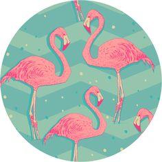 Flamingo Birds Circle Wall Decal
