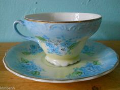 Hand Painted Tea Cup and Saucer Set - Vintage - Made In Japan Forget-Me- Nots  #MadeinJapan