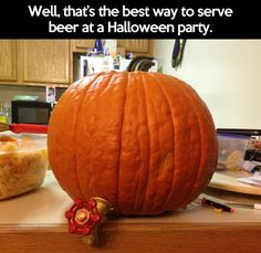 Serving beer at a Halloween party. I'm not sure how well this would work but it's a cool idea.