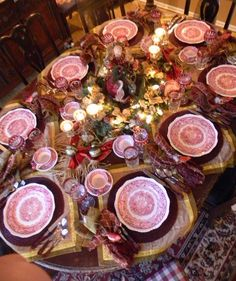 Nancy's Daily Dish: Christmas Tablescape with Masons Vista...a little busy for me but I do like some of the elements.