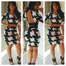 new sexy womens 2-pieces BACKLESS Bandage Clubwear Party Outfit Bodycon Dress