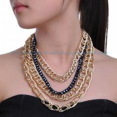 Fashion 4Layered Aluminum Chain Gray Black Crystal Choker Bib Statement Necklace #Chain
