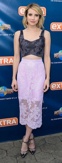 Emma Roberts's lace pencil skirt and crop top combo make for a perfect outfit that's comfortable AND easy to replicate