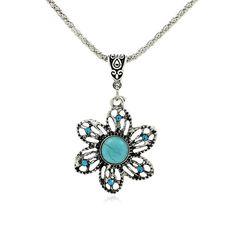 Bohemian Fine Sunflowers Turquoise Pendants Necklace for Women