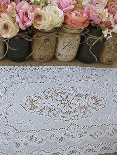 Vinyl Lace Doilies ONE DOZEN vinyl lace doilies  Rustic Wedding Table Setting White
