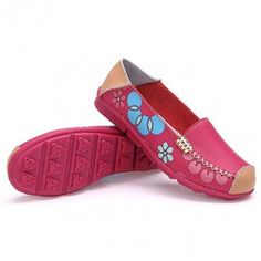 Hot-sale Leather Floral Print Color Match Soft Sole Comfortable Slip On Flat Shoes - NewChic