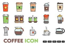 Cafe Icon, Envato Elements, Outline Designs, Simple Icon, Best Icons, Icon Collection, Icon Set, Icon Design, Coffee Shop