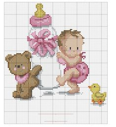 Baby and teddy bear x-stitch