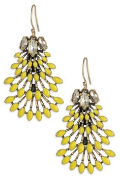 Shop the decadent Norah yellow & vintage inspired gold statement chandelier earrings. Find fashion earrings, chandelier earrings & more at Dressing Up Mum's Stella & Dot Shop