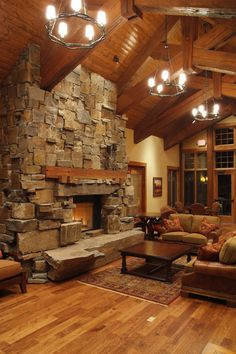 rough-stone fireplace wall, with stone bench