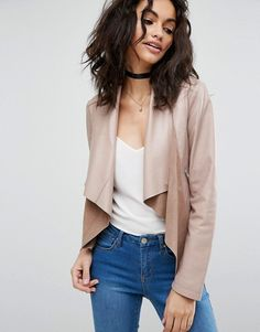 This beautiful, draped jacket could upgrade a casual outfit or be thrown over a cocktail dress of almost any color.