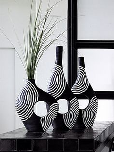 Black And White Vases Vase Tall