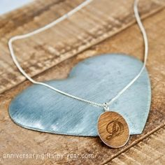 silver & wood personalized pendant
