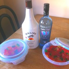Malibu Rum and Cotton Candy Vodka to make RUMMY BEARS for the beach.