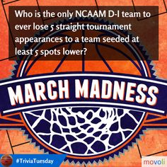 Who is the only NCAAM D-I team to ever lose 5 straight tourney appearances to a team seeded at least 5 spots lower? #TriviaTuesday