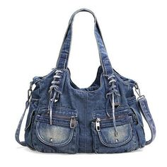If you are searching for a casual yet stylish large tote bag, then you have found it! This big denim jeans bag is incredible! With pockets, zippers and lace-up details you will LOVE. Beautifully faded and floppy with an extra clip-on crossbody strap for extra convenience. This big roomy bag can handle your books, tablet, and all accessories! Available in 3 colors. This bag will be the envy of all your friends! Allow 12-20 days for delivery. Item Type: Handbags Exterior: Slit Pocket Closure…